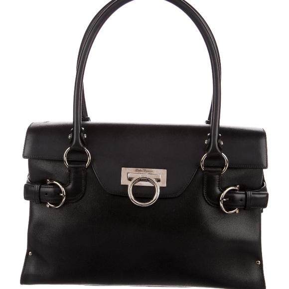 a643ebd955d6 🔥Salvatore Ferragamo🔥 Black Tote Shoulder Bag. M 5af4c856331627ad79903042